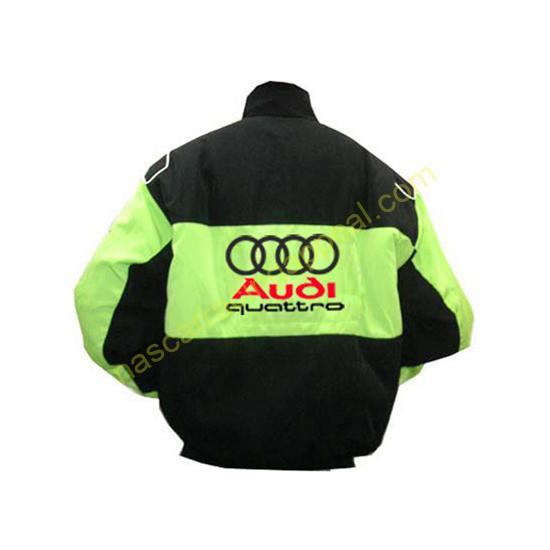 Audi Quattro Black Green Racing Jacket back