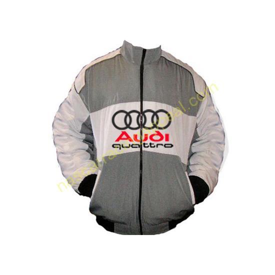 Audi Quattro Gray White Racing Jacket front