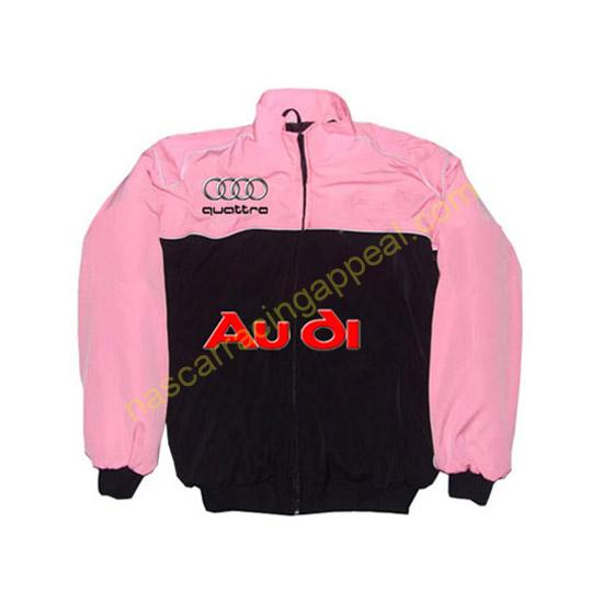 Audi Quattro Racing Jacket Pink and Black front