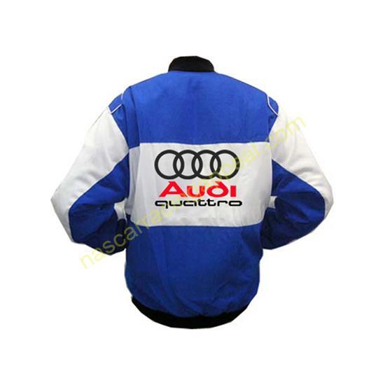 Audi Quattro Blue White Racing Jacket back
