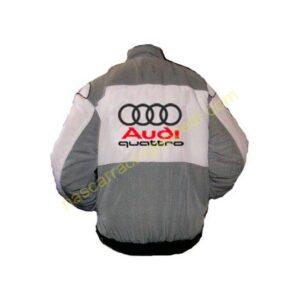 Audi Quattro Gray White Racing Jacket back