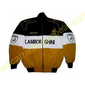 Lamborghini Racing Jacket Black White Brown