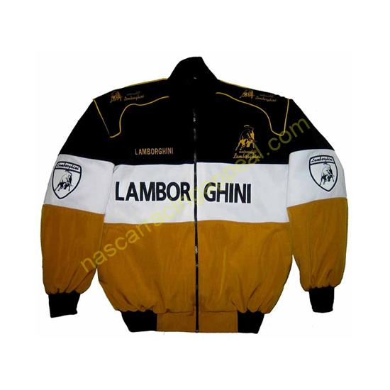 Lamborghini Racing Jacket Black White Brown